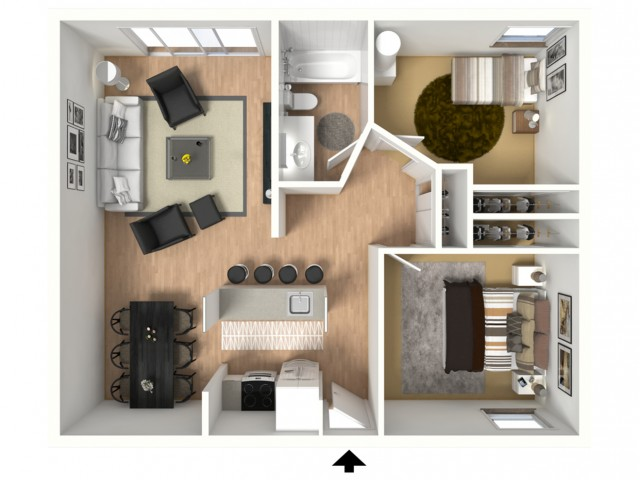 3D floorplan of two-bedroom, one-bathroom large with furniture