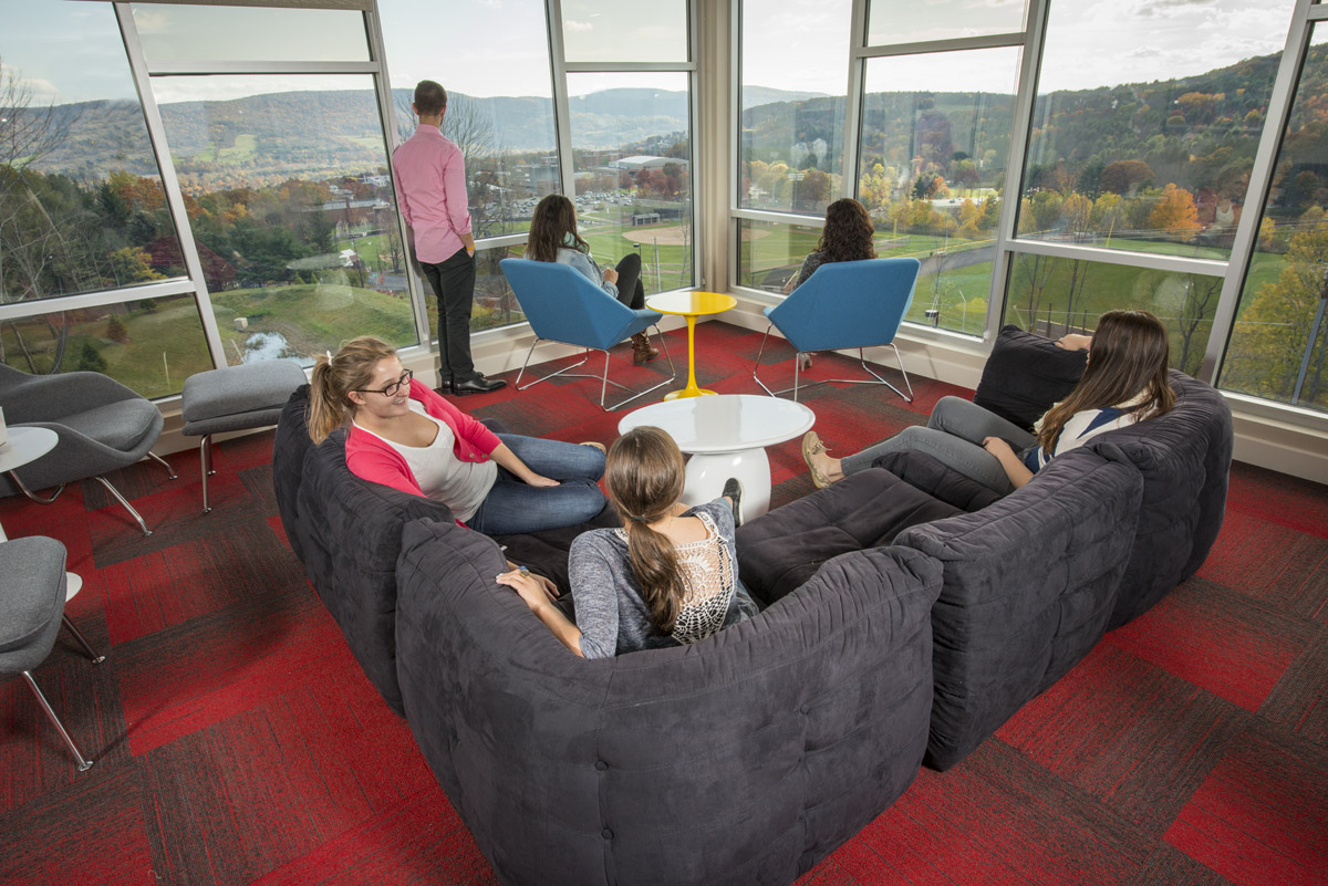 Sky Lounge overlooking the SUNY Oneonta campus from Hillside Commons
