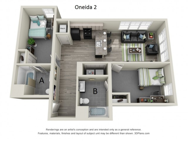 2 Bedroom Floor Plan | Hillside Commons