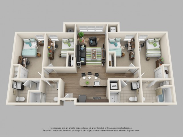 4 Bedroom Floor Plan | Twin River
