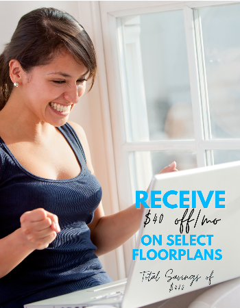Sign a lease and receive $40 off a month. Start a FREE Application TODAY!
