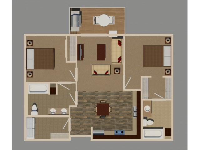 2 Bed/2 Bath (B1 Handicap Unit)