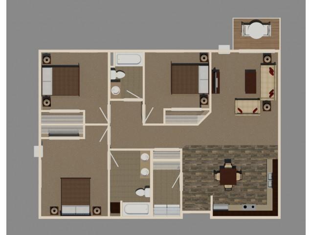 3 Bed/2 Bath (C1 Unit)