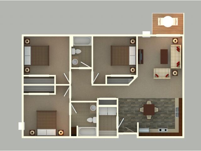 3 Bed/2 Bath (C2 Unit)