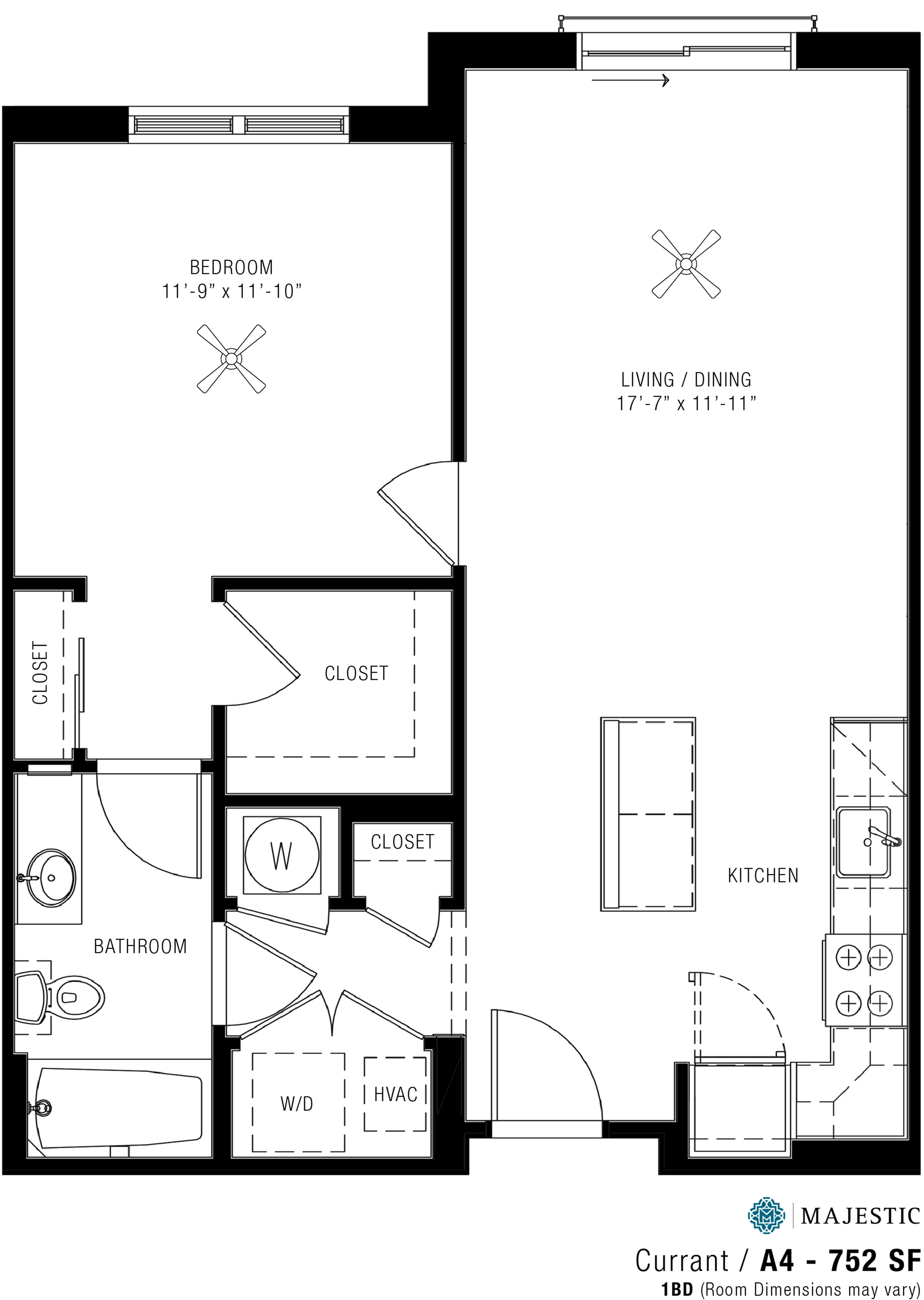 Spacious One Bedroom Apartments | Majestic 2