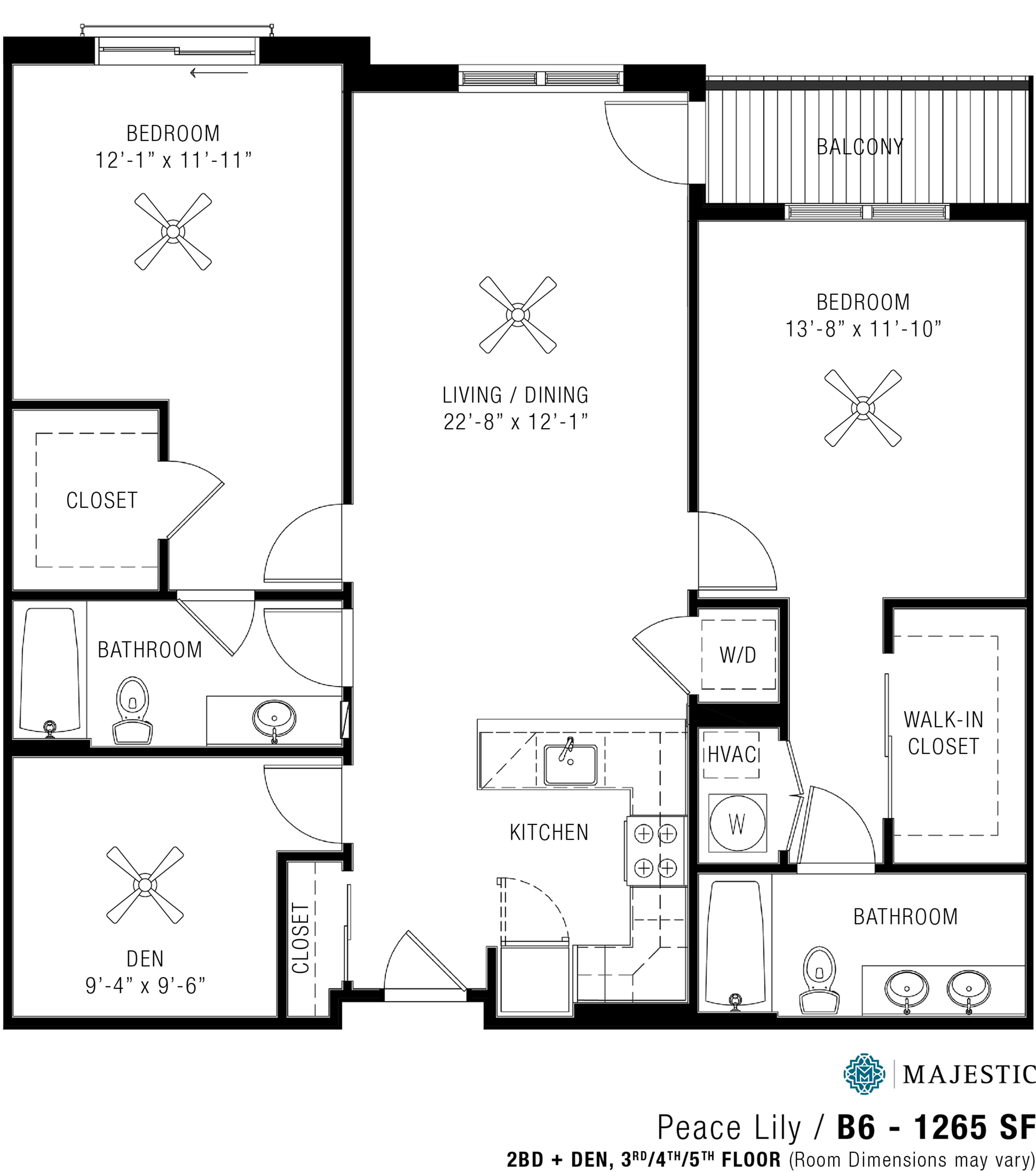 Two Bedroom Apartments | Majestic 3