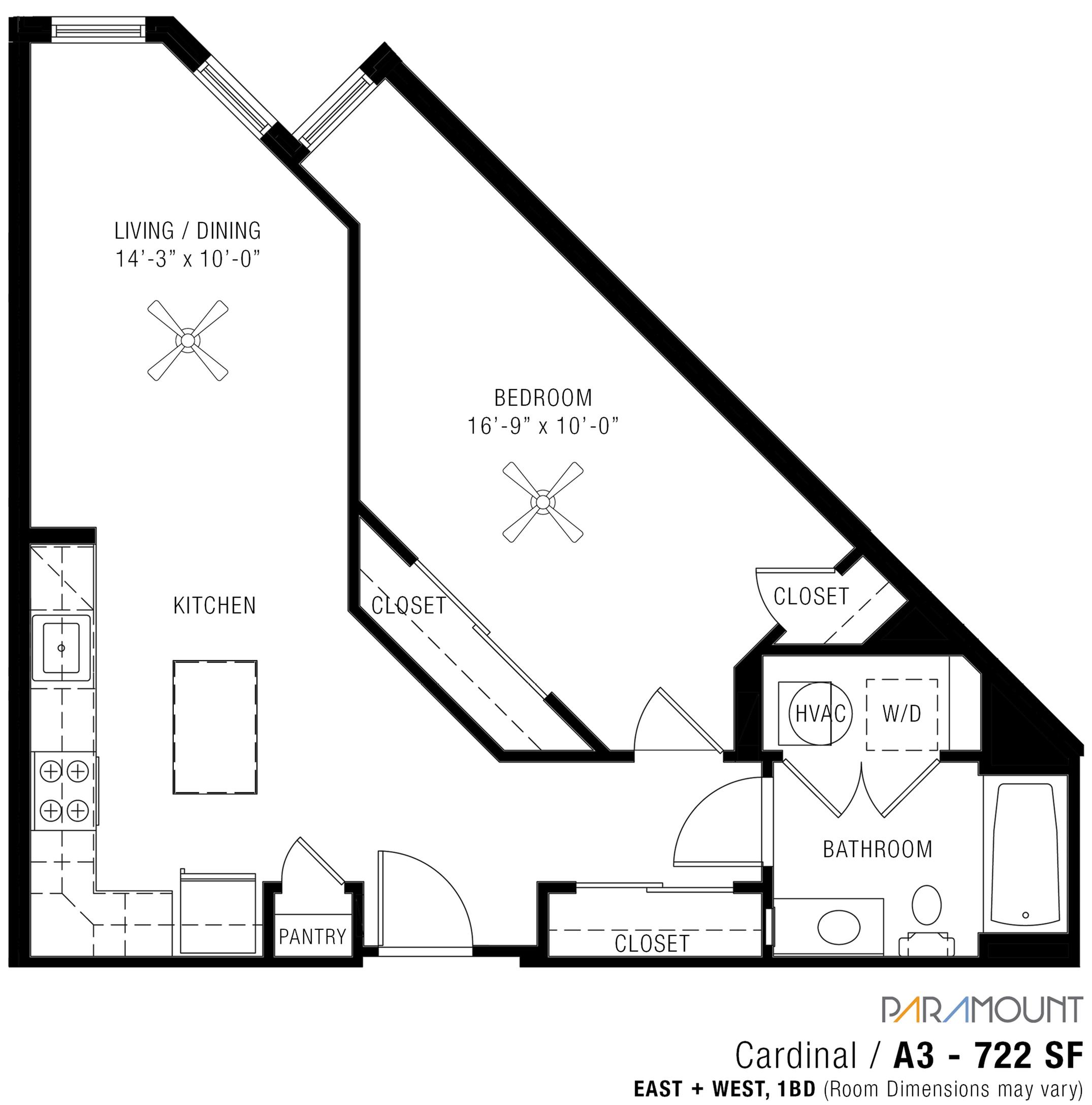 1 Bedroom Apartments   Paramount