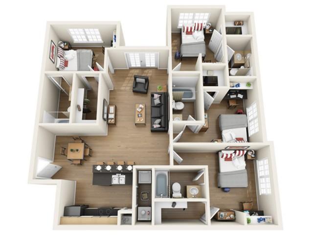 4 bedroom-4 bathroom