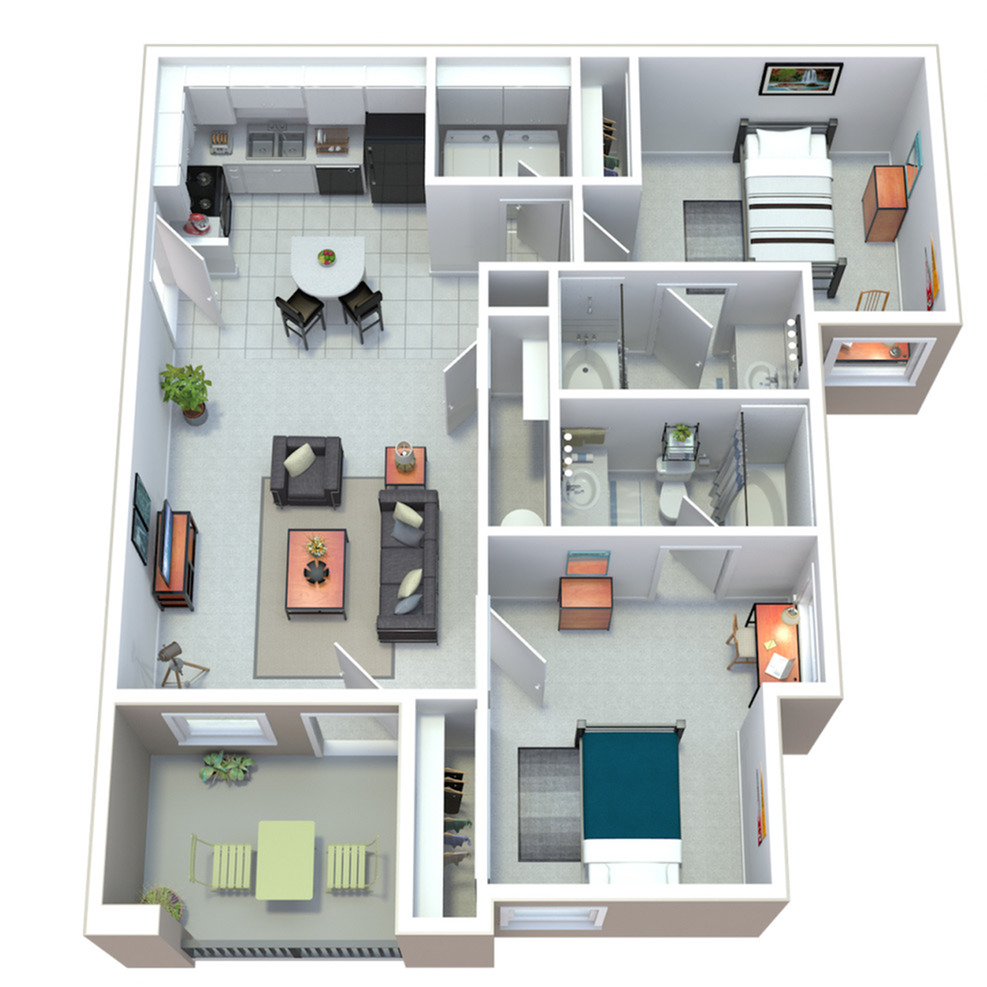 2 Bedroom- 2 Bathroom