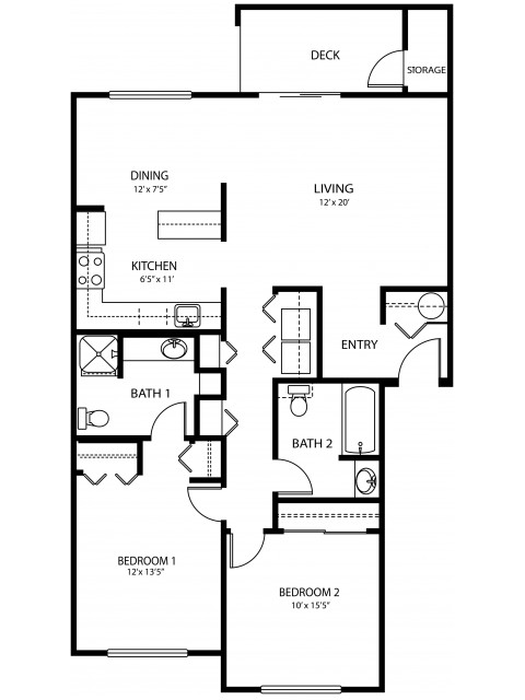 2 bedroom 2 bath, 1085 sq ft
