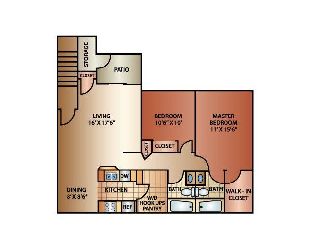 2 Bedroom 1 Bathroom, 1180 sq. ft.