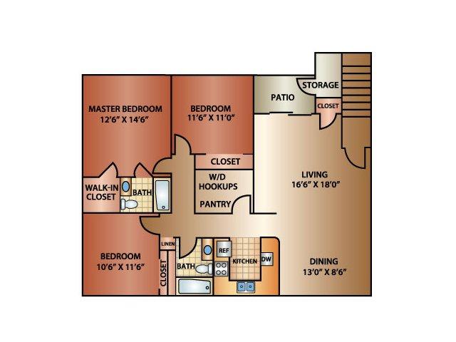 3 Bedroom 2 Bath, 1350 sq. ft.