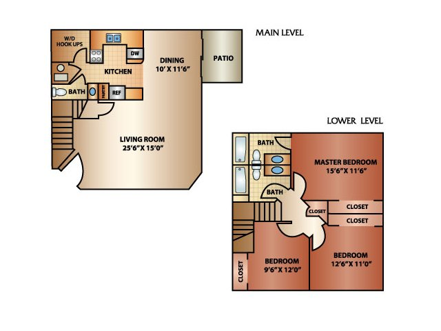 3 Bedroom 2 Bath Townhome, 1550 sq. ft.