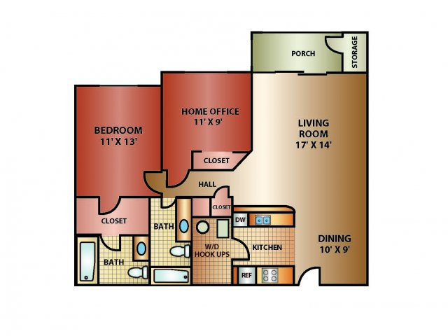 2 Bed 2 Bath, 1120 SQ. FT.