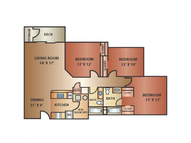 3 Bed 2 Bath, 1230 SQ. FT.
