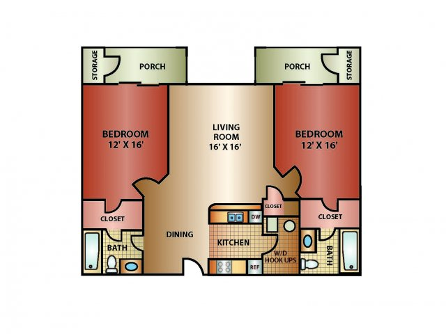 2 Bed 2 Bath, 1270 SQ. FT.