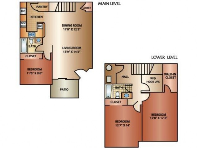 3 Bedroom 2 Bath Townhome, 1550 sq. ft