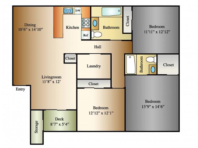 3 Bed 2 Bath, 1270 SQ. FT.
