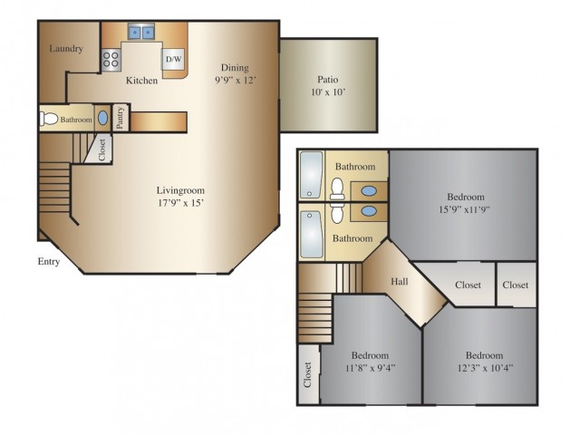 Tembo 3 Bed 2.5 Bath Townhome, 1390 SQ. FT.