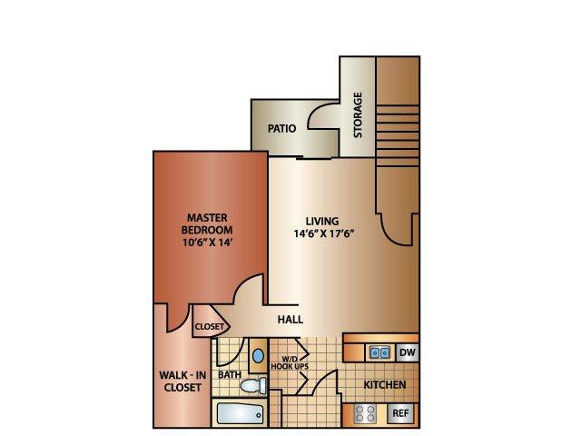 1 Bedroom 1 Bath, 800 sq. ft.