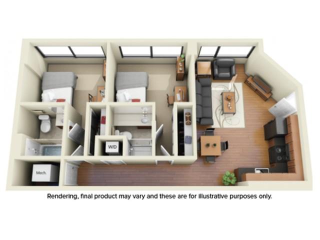 2 Bedroom Floor Plan | apartments near howard university | Vie at University Towers