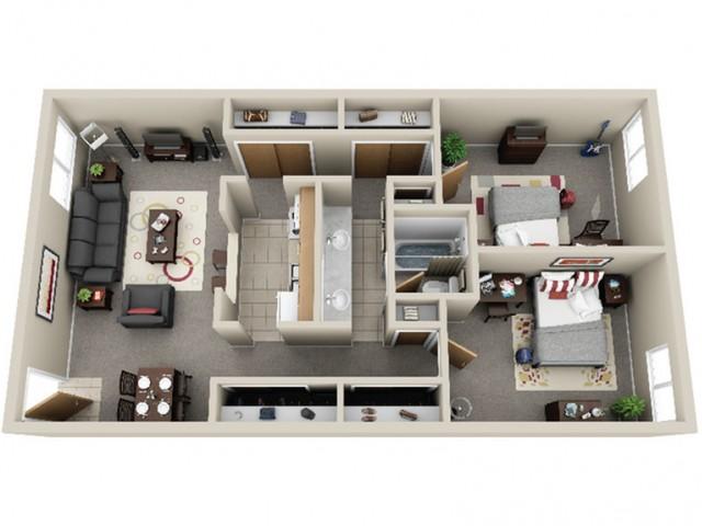 Hillcrest Apartments 2x1 Floor Plan