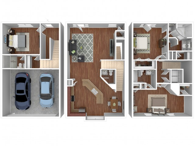 3 Bdrm Floor Plan | fau apartments | Vie Villas at Boca Raton