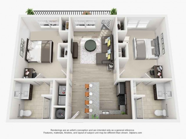 2 Bdrm Floor Plan | apartments near texas state | Vie Lofts at San Marcos
