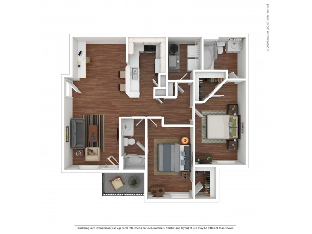 2 Bedroom Floor Plan | Apartments Near University of Alabama | Vie at University Downs