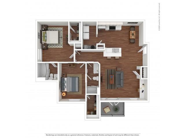 2 Bdrm Floor Plan | Housing at University of Alabama | Vie at University Downs