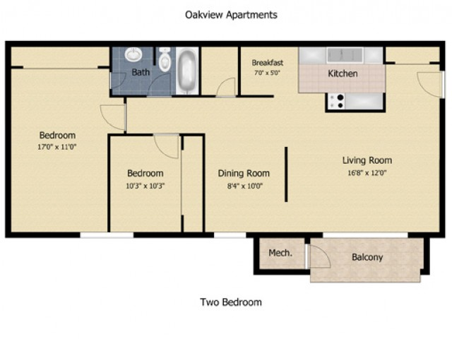 2 Bedroom 1.5 Bath