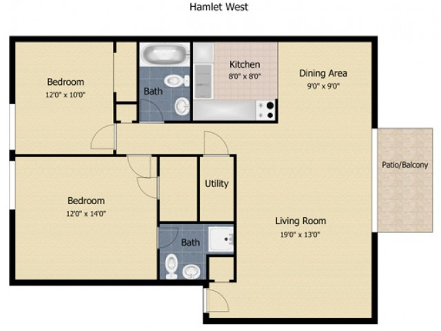 2 Bedroom 2 Bath Apartment