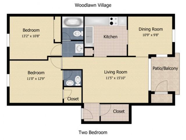 2 Bedroom 1.5 Bath Apartment