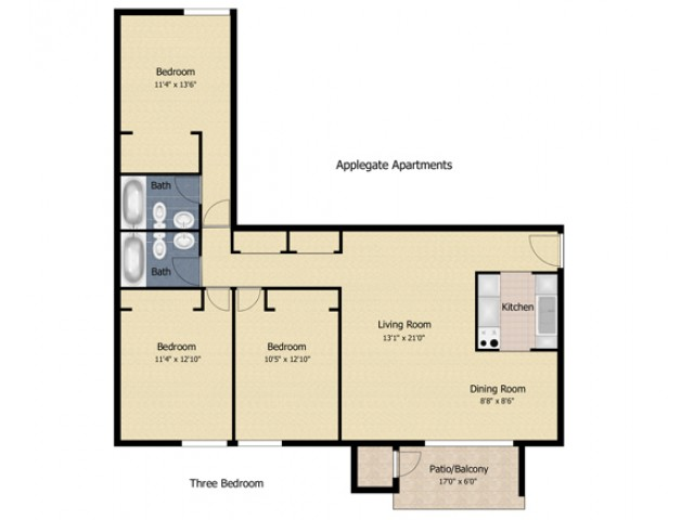 3 bedroom AP