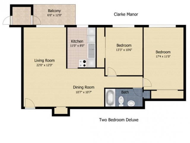 2 bedroom 1 bath deluxe
