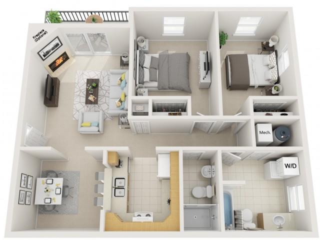 2 bedroom 2 bath 960sq ft
