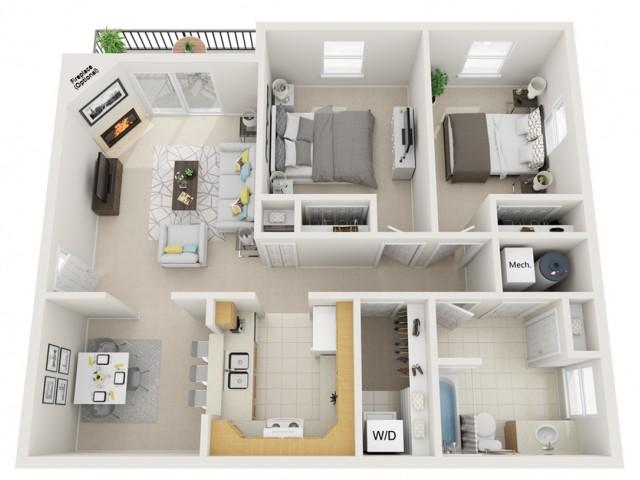 2 bedroom 1 bath 960sq ft