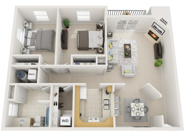 2 bedroom 1bath Deluxe 1000sq ft