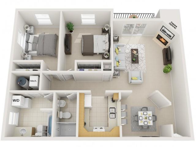 2 bedroom 2 bath Deluxe 1000sq ft