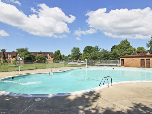 Applegate Apts; Exterior, Olympic size pool, gated pool area, life guard