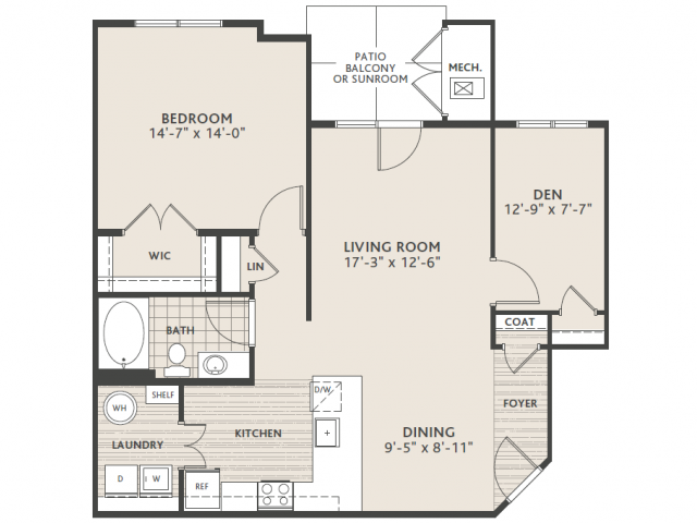 1 bedroom 1 bath w/Den