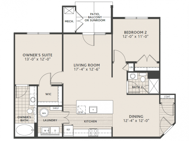 2 bedroom 2 bath (large)