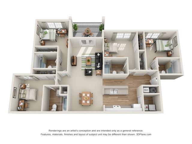 All|Floor Plans4 Bedroom 4 Bath