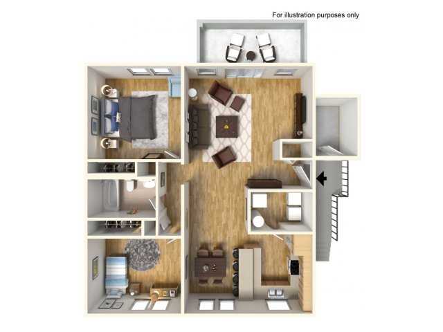 2 Bdrm Floor Plan | army hawaii housing | Island Palm Communities