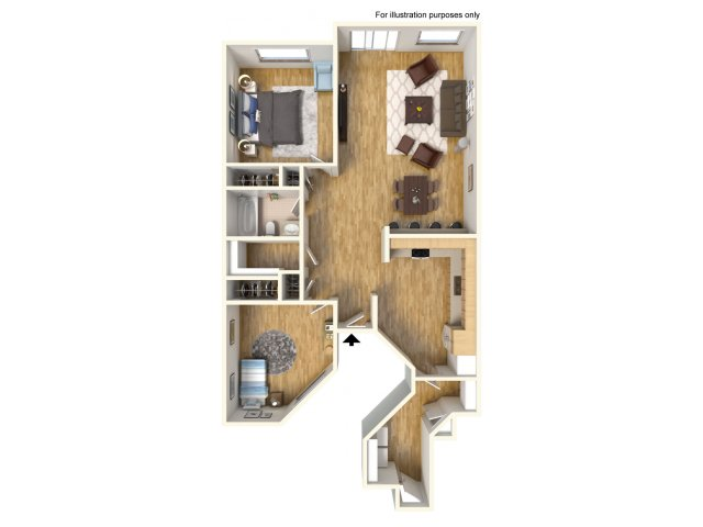 2-Bedroom floor plan in Helemano, single story, 2 bedrooms, 1 bath, 990 sq ft.