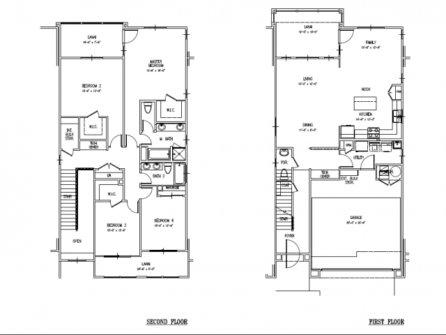 4-bedroom new two story multiplex townhome, 2241 sq ft