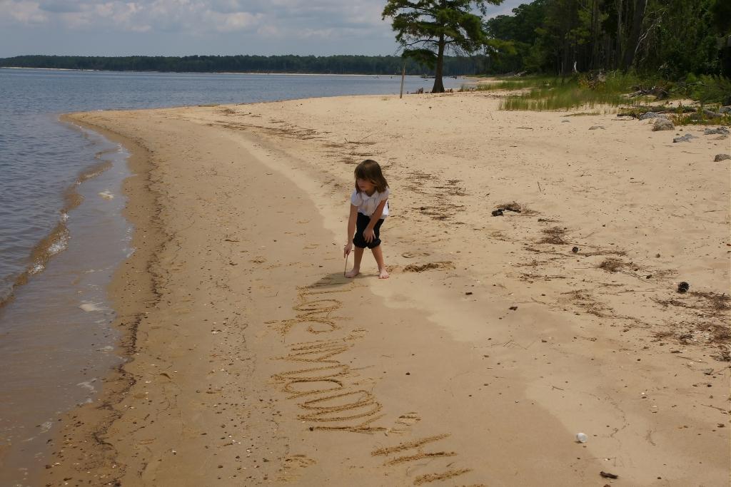 Writing Name in the Sand | Kid Walking on the Beach | Havelock NC Beaches
