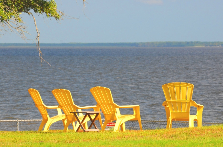 Yellow Beach Chairs | Lounge Chairs | Chairs on Beach | Beach Access | Horizon View