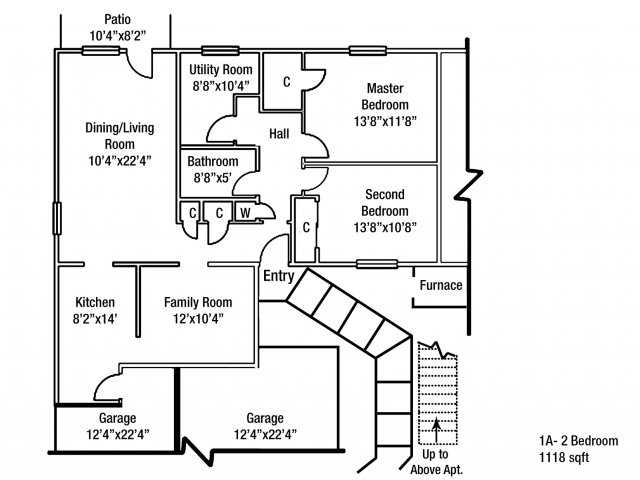 2 Bedroom Floor Plan | Fort Drum On Post Housing | Fort Drum Mountain Community Homes