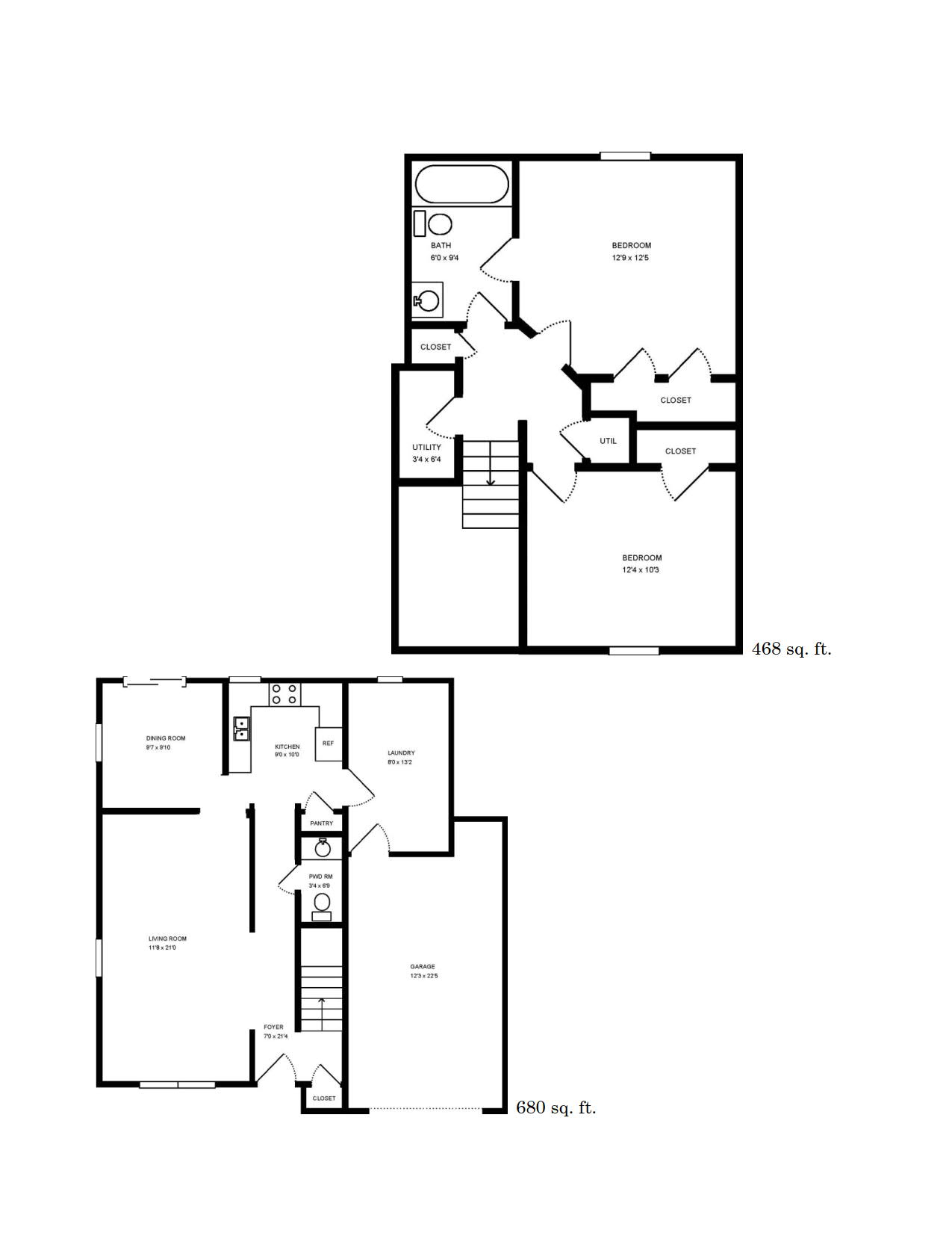 2 Bedroom Floor Plan | Camp Lejeune Rentals | Atlantic Marine Corps Communities at Camp Lejeune